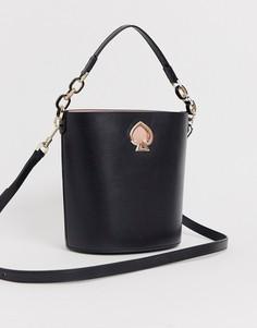 Черная кожаная сумка-мешок с цепочками на ручке Kate Spade Suzy-Черный