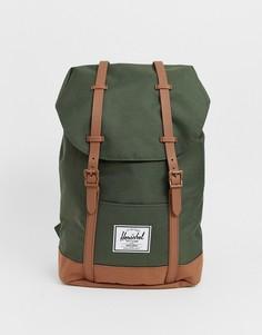 Рюкзак объемом 19,5 литра с контрастным основанием Herschel Supply Co Retreat-Зеленый