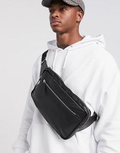 Черная кожаная сумка-кошелек через плечо с молнией спереди ASOS DESIGN-Черный