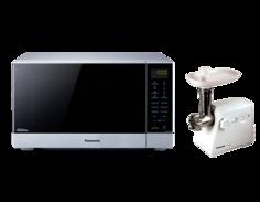 Микроволновая печь с грилем Panasonic NN-GF574MZPE + электромясорубка MK-MG1000WTQ