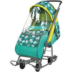 Санки-коляска Baby Care Умка 3-1/1 изумрудные с медвежатами, со светоотражателями