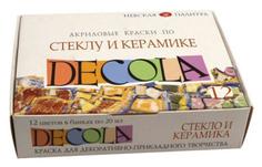Художественные краски DECOLA Акриловые по стеклу и керамике 12 цветов Невская Палитра
