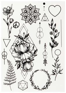 Переводные тату Miami Tattoos Black Tattoo Flora by SashaTattooing Studio