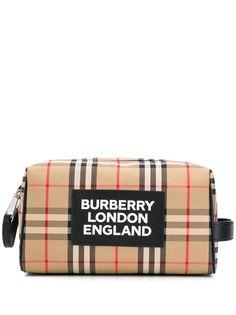 Burberry несессер в клетку с логотипом