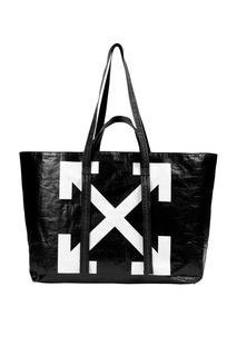 Черная сумка с символом бренда Off White