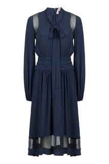 Темно-синее платье с полупрозрачными вставками No.21