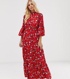 Платье макси с вырезом под горло с цветочным принтом Vila-Красный