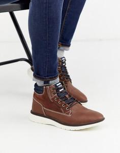 Коричневые ботинки из искусственной кожи с контрастной подошвой Jack & Jones-Коричневый