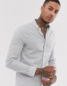 Белая рубашка с длинными рукавами и цветочным принтом Armani Exchange-Белый