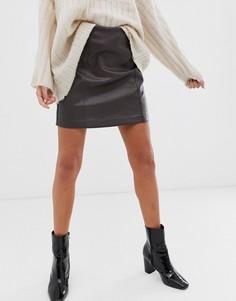 Коричневая мини-юбка из искусственной кожи New Look-Коричневый