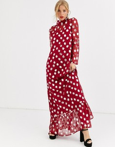 Платье макси в горошек цвета металлик с пышной юбкой Dusty Daze-Красный