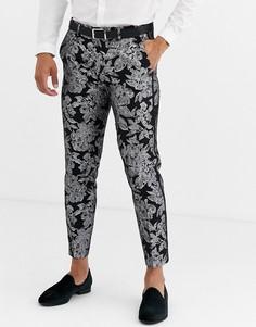 Узкие брюки укороченного кроя с цветочным принтом, эффектом металлик и окантовкой Tux Til Dawn-Черный
