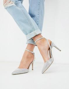 Серебристые туфли на каблуке с отделкой New Look-Серебряный