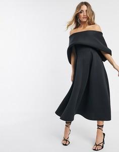 Платье миди с отворотом для выпускного ASOS DESIGN-Черный