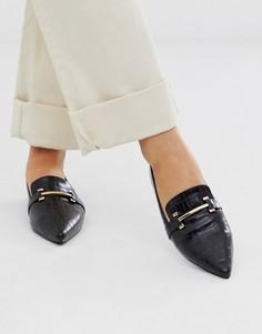 Лоферы на плоской подошве с заостренным носком и эффектом крокодиловой кожи Park Lane-Черный
