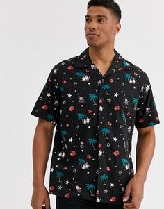 Черная рубашка с короткими рукавами и новогодним принтом Jack & Jones Originals-Черный