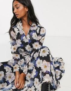 Платье макси с запахом и вырезом с крупным цветочным принтом Lost Ink-Мульти