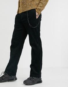 Широкие вельветовые брюки черного цвета Topman-Черный