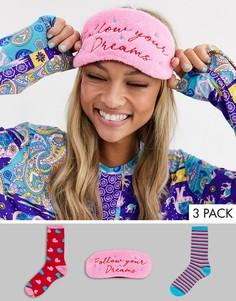 Подарочный набор с носками, маской для сна и косметичкой Chelsea Peers-Мульти
