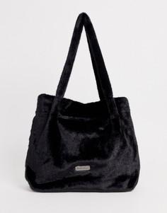 Черная сумка-тоут из искусственного меха Claudia Canova-Черный
