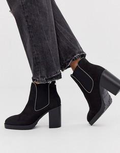 Черные ботинки на каблуке с цепочками Miss KG-Черный