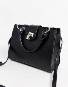 Маленькая сумка-тоут с замочком ASOS DESIGN-Черный