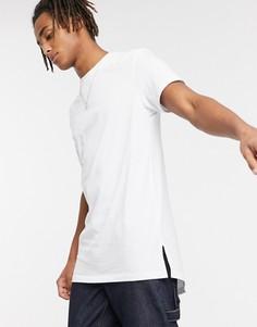 Белая длинная футболка с круглым вырезом и разрезами по бокам ASOS DESIGN-Белый