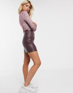 Бордовая юбка из искусственной кожи Miss Selfridge-Фиолетовый