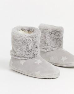 Серые тапочки-ботинки с тиснеными звездами Hunkemoller-Серый