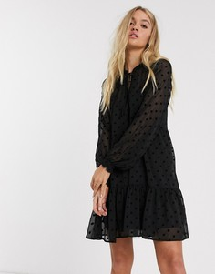 Черное платье мини в горошек Stradivarius-Черный