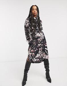 Платье-рубашка миди с принтом AllSaints-Черный