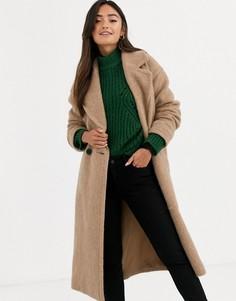 Бежевое теплое oversize-пальто ASOS DESIGN-Бежевый