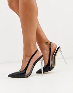 Черные туфли на каблуке-шпильке с острым носком London Rebel-Черный