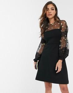 Платье мини с вышивкой и пышными рукавами French Connection-Черный