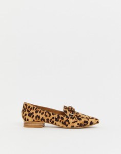 Туфли на плоской подошве с леопардовым принтом ASOS DESIGN Mile-Мульти