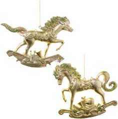 Подвеска Царь Елка Игривая Лошадка 10 см DH-0002AB multi 17 Состаренное золото