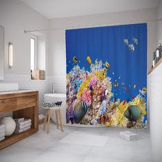 Штора 3д для ванной JoyArty «Радужная экзотика на дне» 180x200