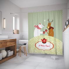 Шторы (шторка) для ванной JoyArty «Чаепитие с друзьями» 180x200 см