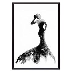 Постер в рамке Черное платье Акварель 2 21 х 30 см Дом Корлеоне