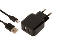 Зарядное устройство Red Line NC-2.4A 2xUSB 2.4A + кабель MicroUSB Black УТ000013634