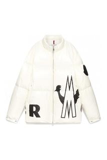 Белая стеганая куртка с логотипом Moncler