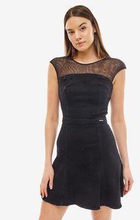 Джинсовое платье с сетчатой кокеткой Guess