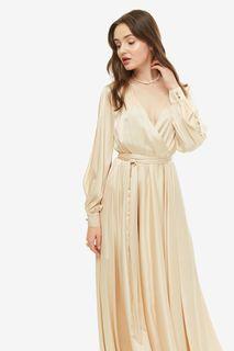 Длинное бежевое платье в вечернем стиле Alisia HIT