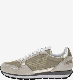 Золотистые текстильные кроссовки с замшевыми вставками Emporio Armani
