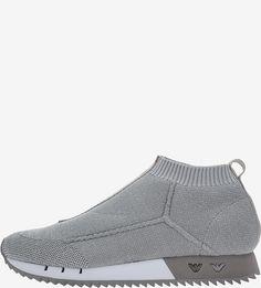 Серебристые текстильные кроссовки Emporio Armani