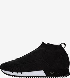 Черные текстильные кроссовки Emporio Armani