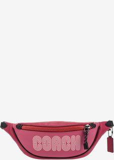 Кожаная поясная сумка с логотипом бренда Coach