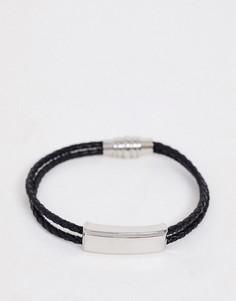 Черный плетеный браслет Topman