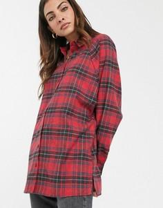 Красно-черная рубашка бойфренда с длинными рукавами и принтом тартан ASOS DESIGN-Мульти