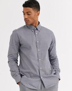 Приталенная рубашка с геометрическим принтом Ben Sherman-Белый